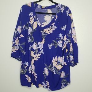 St. John's Bay Blue Floral Plus Size Blouse 2X